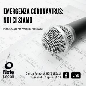 Aggiornamento sulle iniziative in favore di musicisti e sull'unificazione della categoria: diretta Facebook venerdì 10 aprile @ Pagina Facebook Note Legali